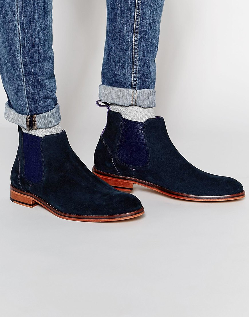 ted baker camroon suede chelsea boots in black for men lyst. Black Bedroom Furniture Sets. Home Design Ideas