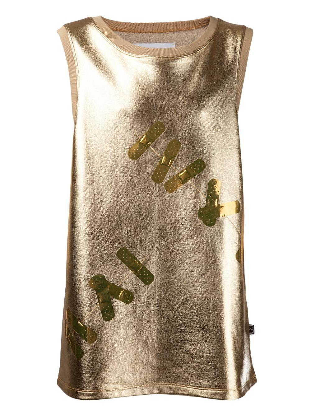 Lyst Kye Sleeveless Metallic Tank Top In Metallic For Men