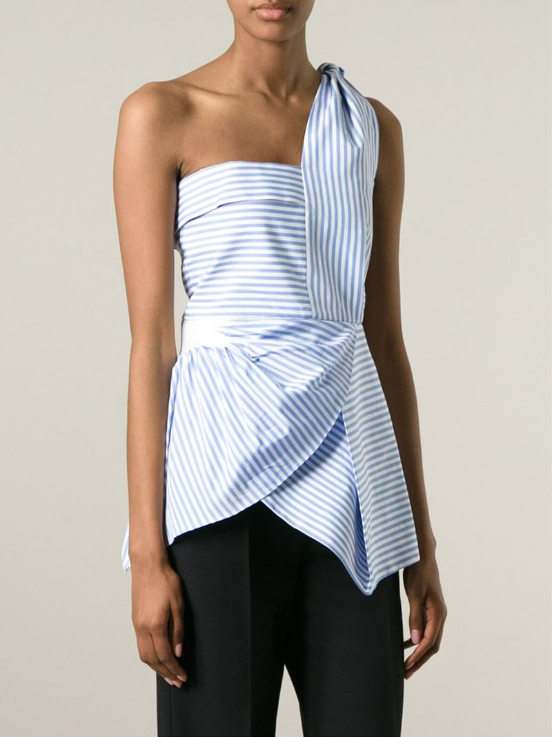 Lyst J W Anderson Striped One Shoulder Top In Blue