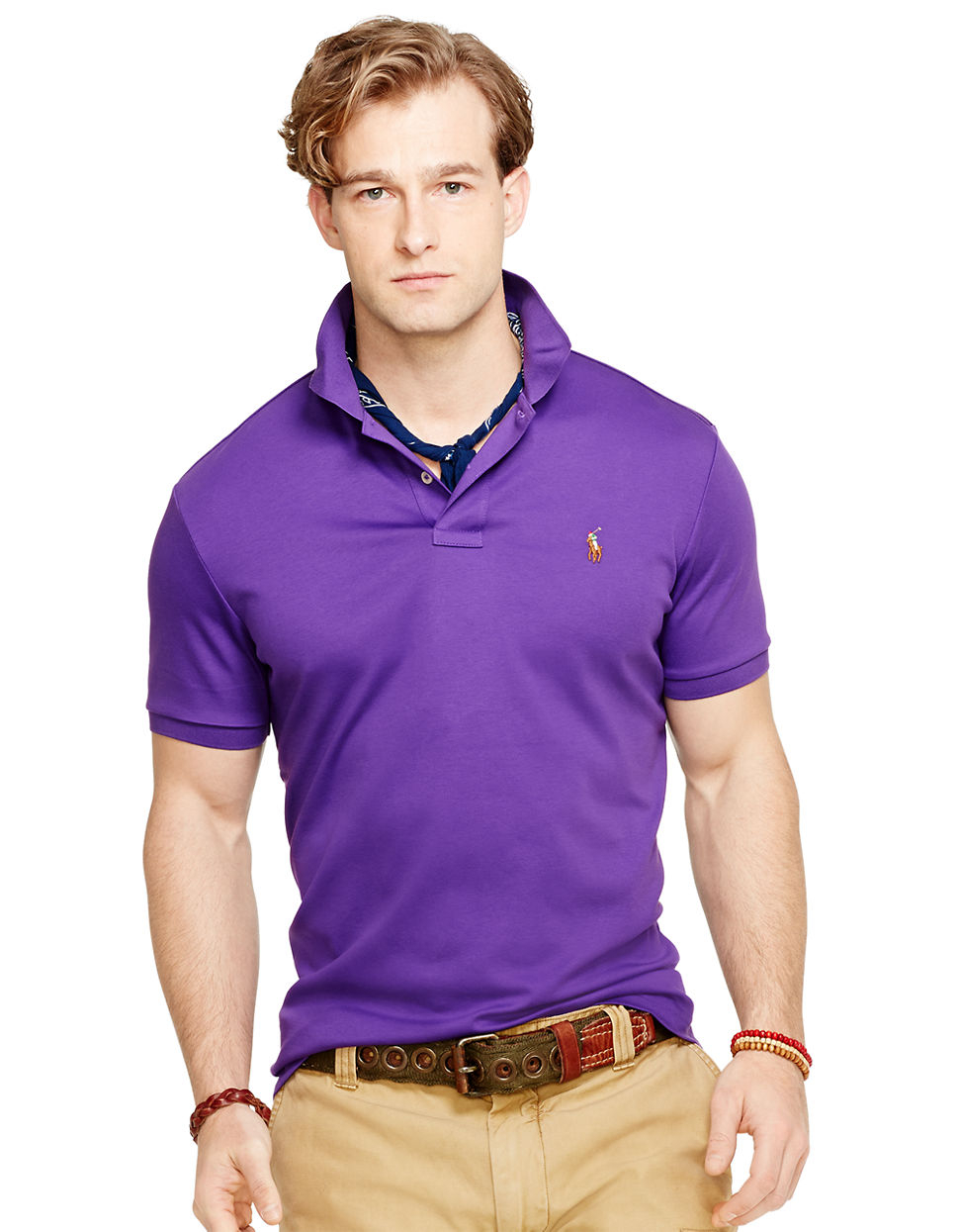 4358fd96 Polo Ralph Lauren Pima Soft-Touch Polo Shirt in Purple for Men - Lyst