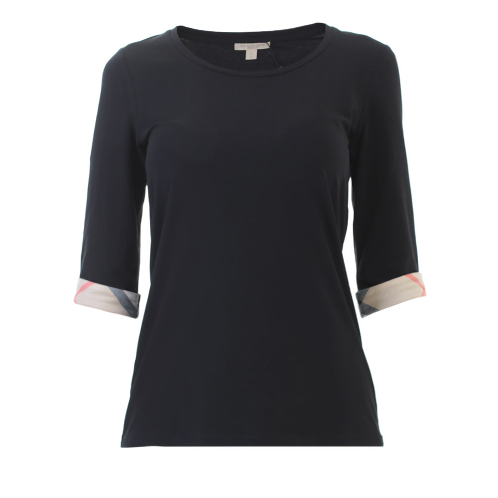 burberry black stretch cotton t shirt in black lyst. Black Bedroom Furniture Sets. Home Design Ideas