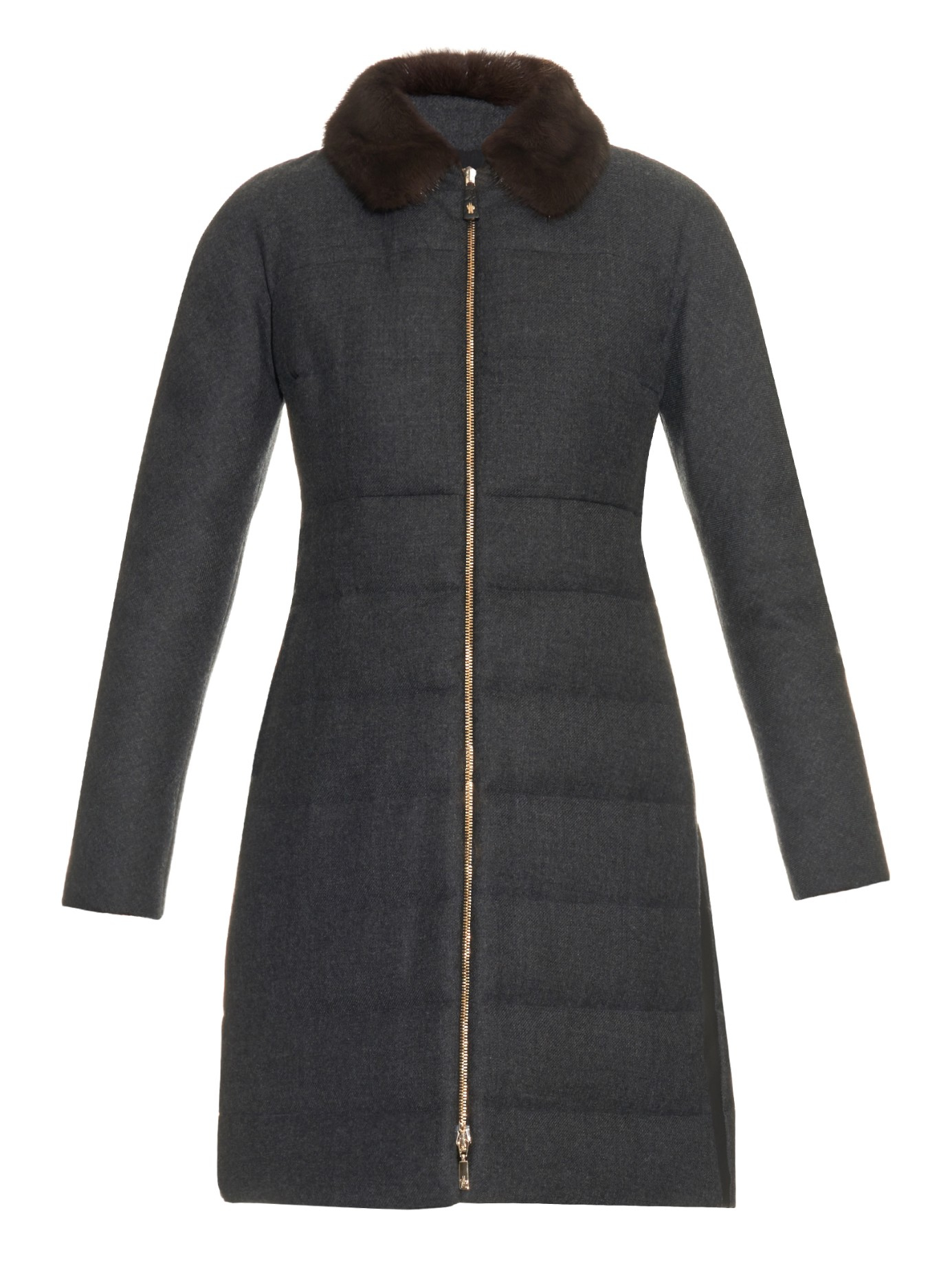 Lyst Moncler Gamme Rouge Quilted Fur Collar Coat In Gray