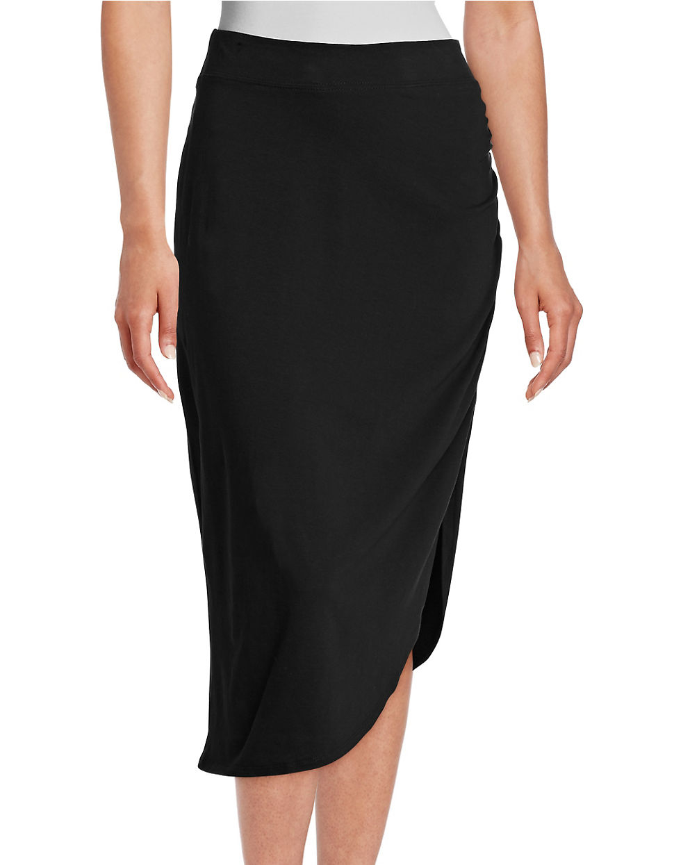 kensie heathered asymmetrically draped pencil skirt in