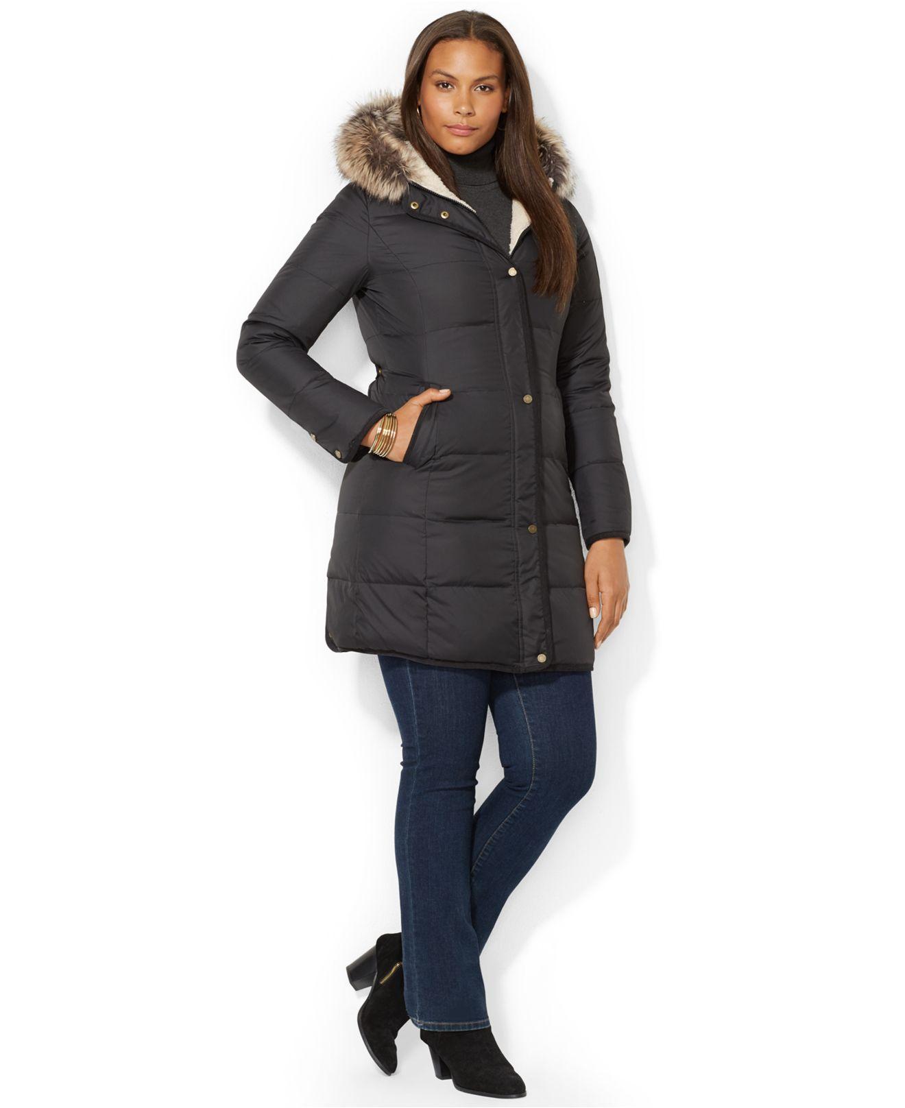 Lauren by Ralph Lauren Plus Size Faux Fur Trim Down Puffer ...
