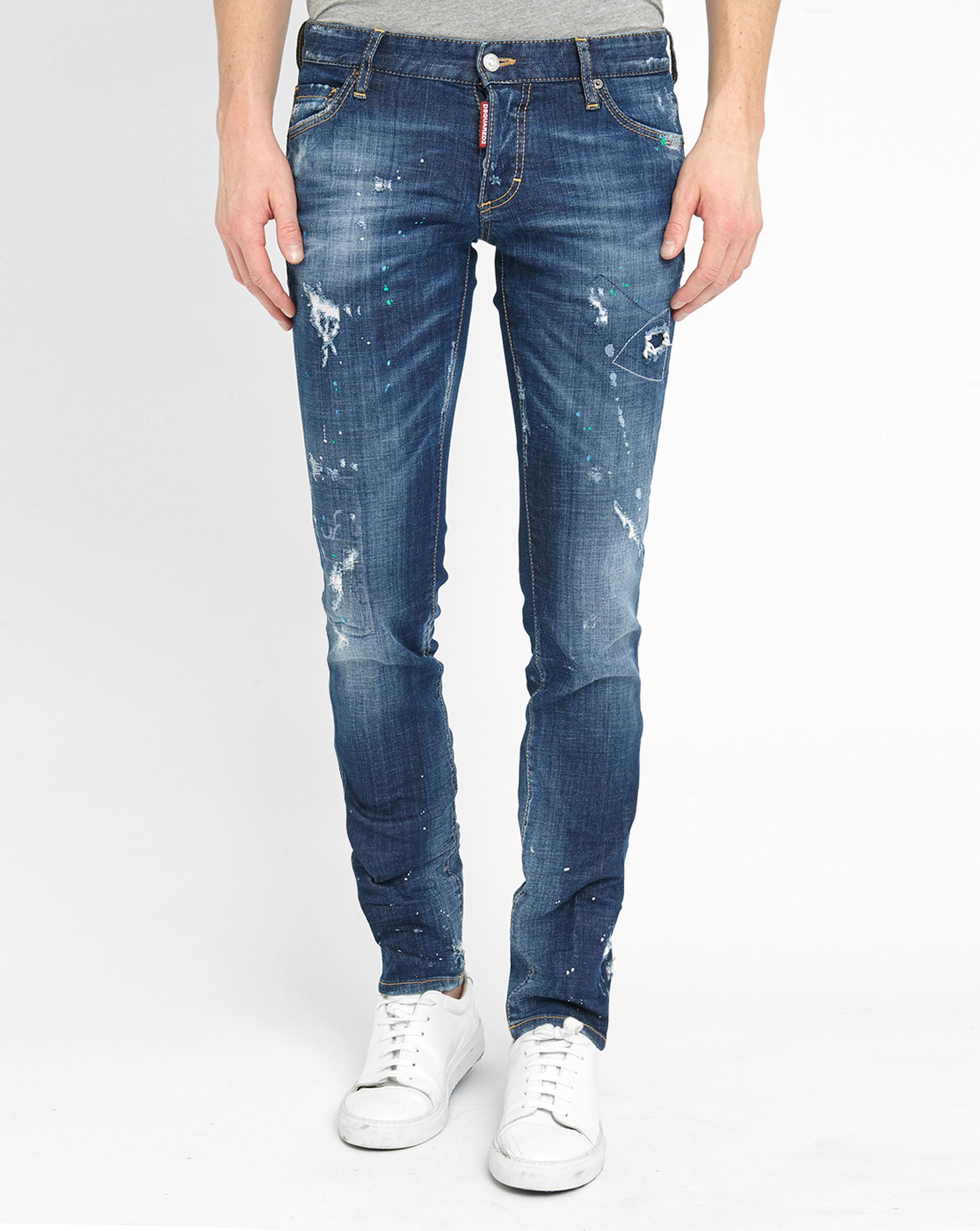 dsquared paint destroy patched slim fit jeans in blue for. Black Bedroom Furniture Sets. Home Design Ideas