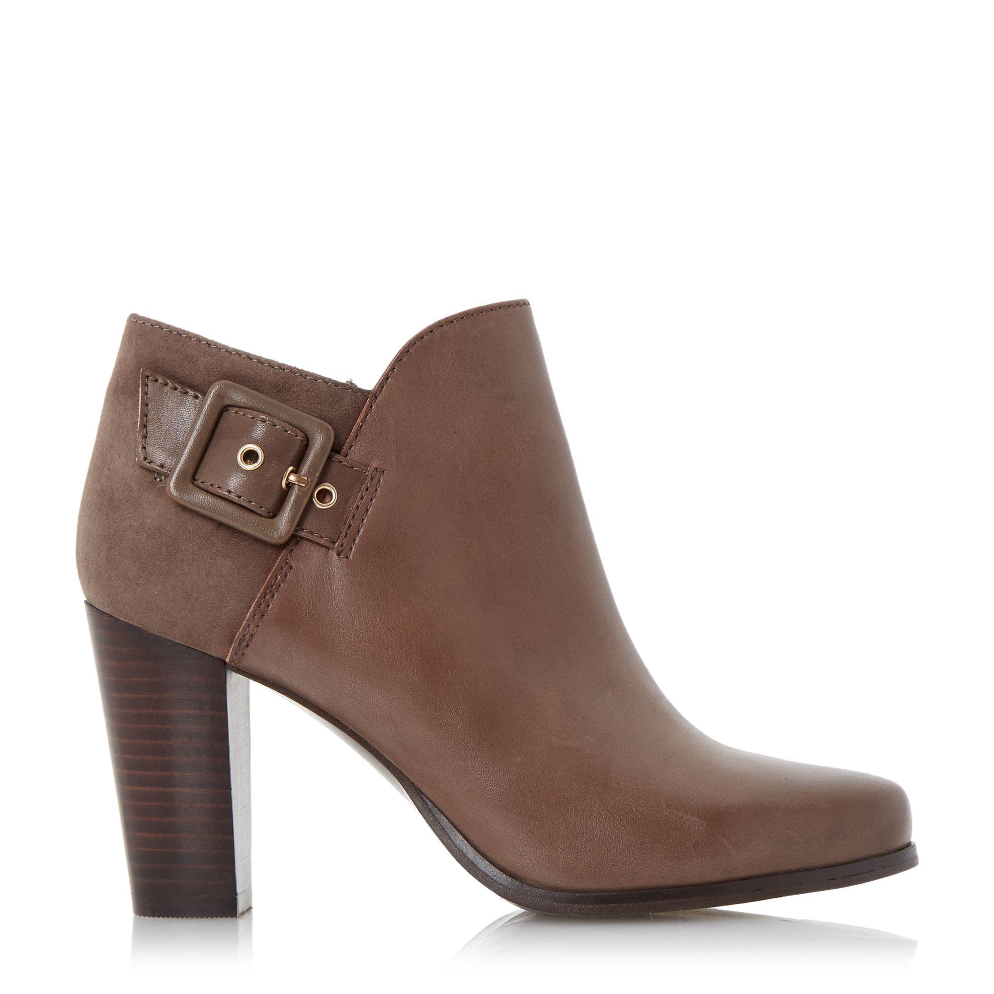 dune oaklee buckle block heel ankle boots in brown lyst