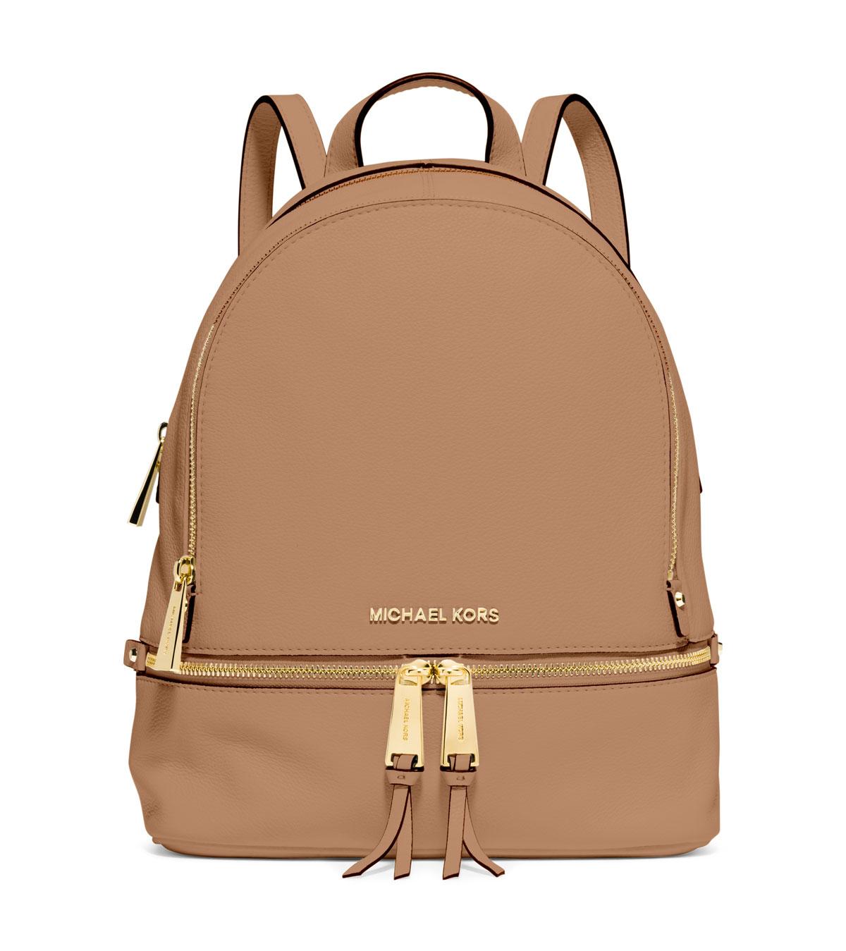 michael michael kors rhea small zip backpack in beige jet lyst. Black Bedroom Furniture Sets. Home Design Ideas