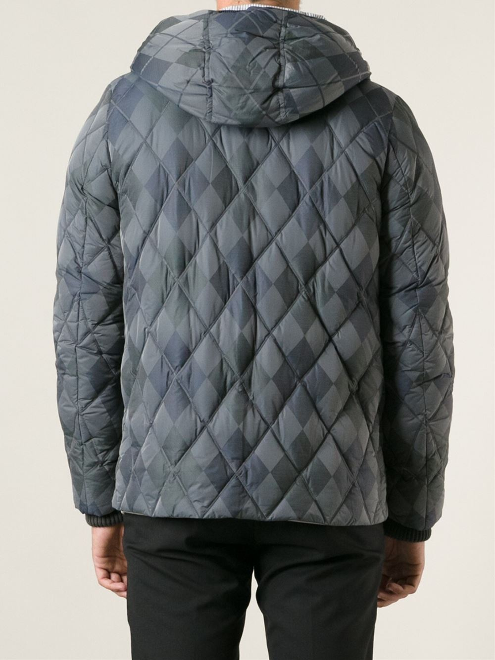 Moncler Gamme Bleu Argyle Print Padded Jacket in Grey (Grey) for Men