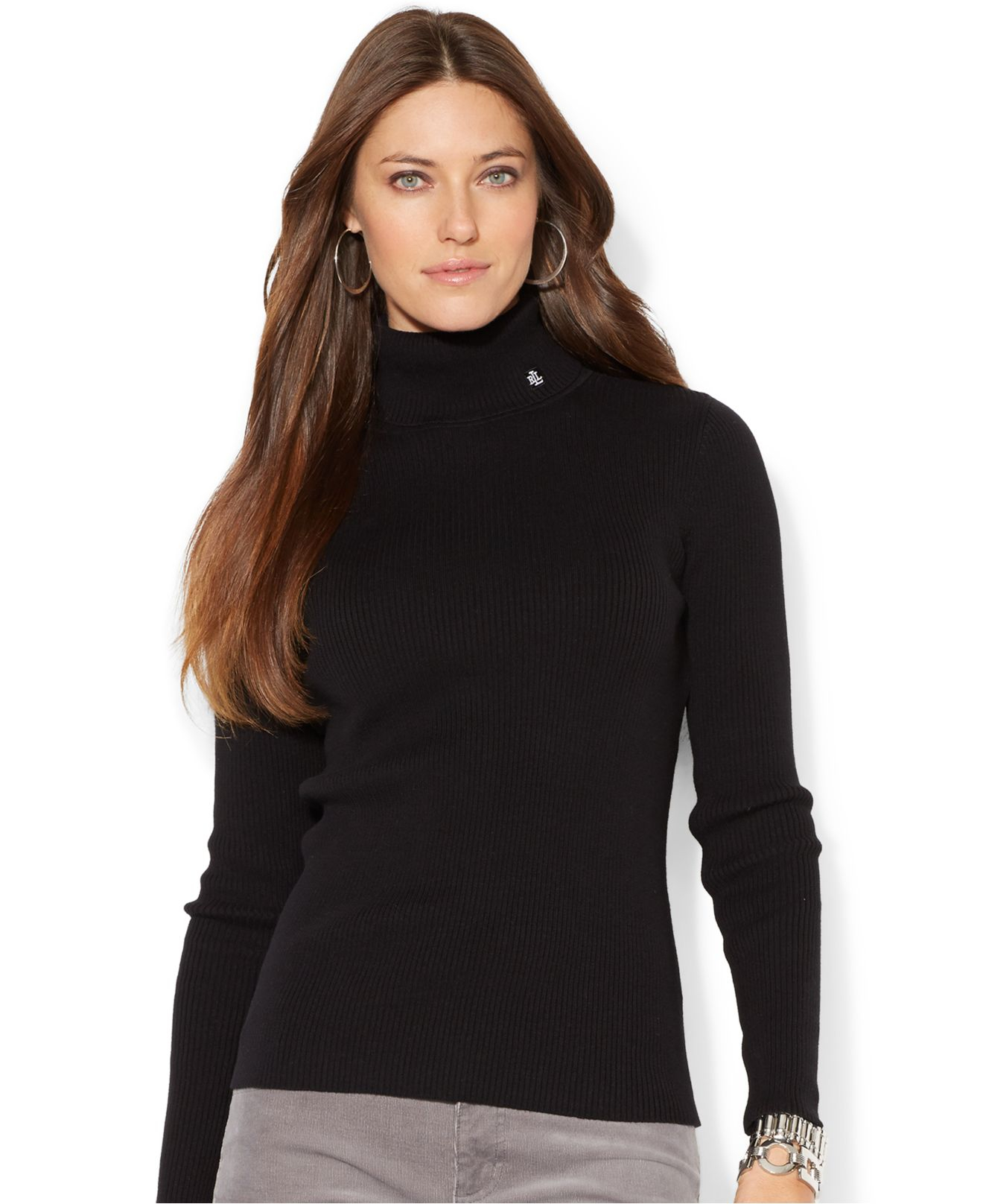 Lauren by ralph lauren Petite Ribbed Turtleneck Sweater in Black ...