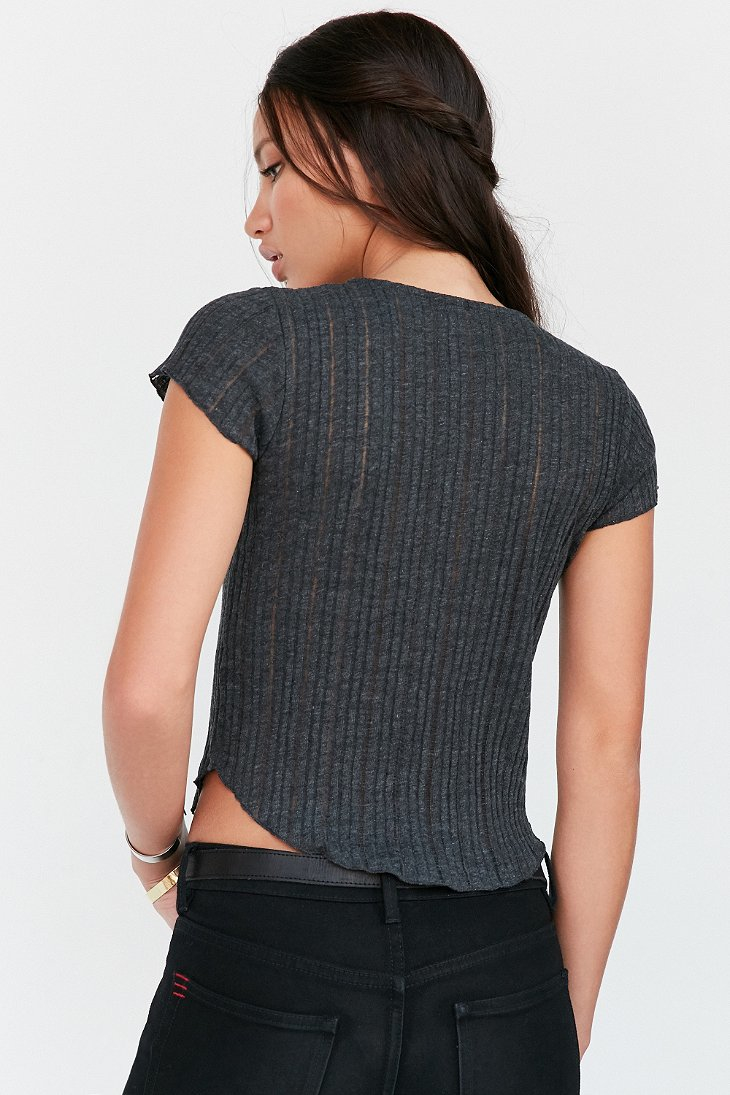 Lyst - Kimchi Blue Sally Ribbed Knit Lace-up Tee in Gray a9d1441fe