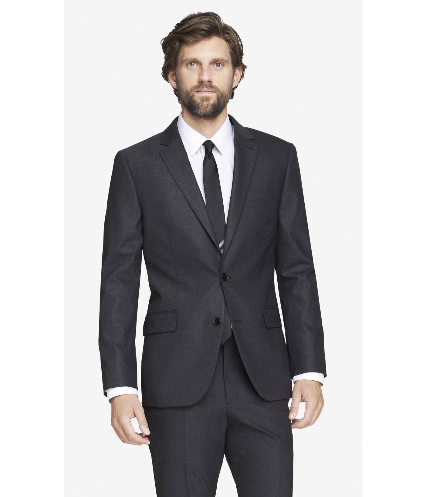 Express Wool Modern Producer End-on-end Gray Suit Jacket for Men