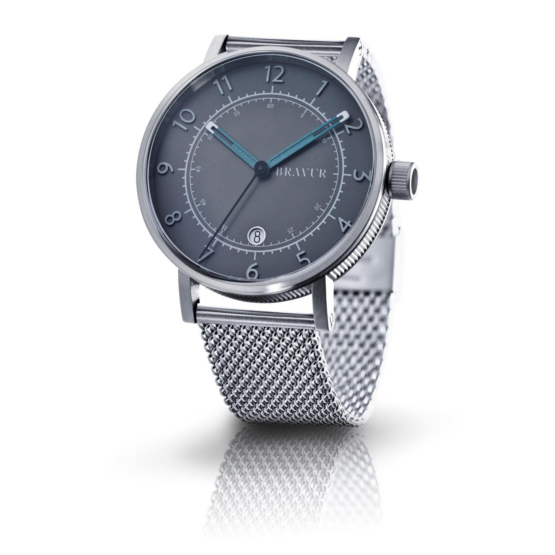 bravur steel case grey face milanese bracelet in metallic for men lyst. Black Bedroom Furniture Sets. Home Design Ideas