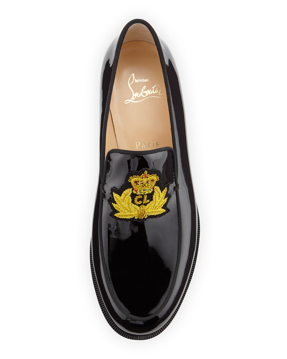 half off 85783 20dbf Christian Louboutin Black Laperouza Patent Crest Red Sole Loafer for men