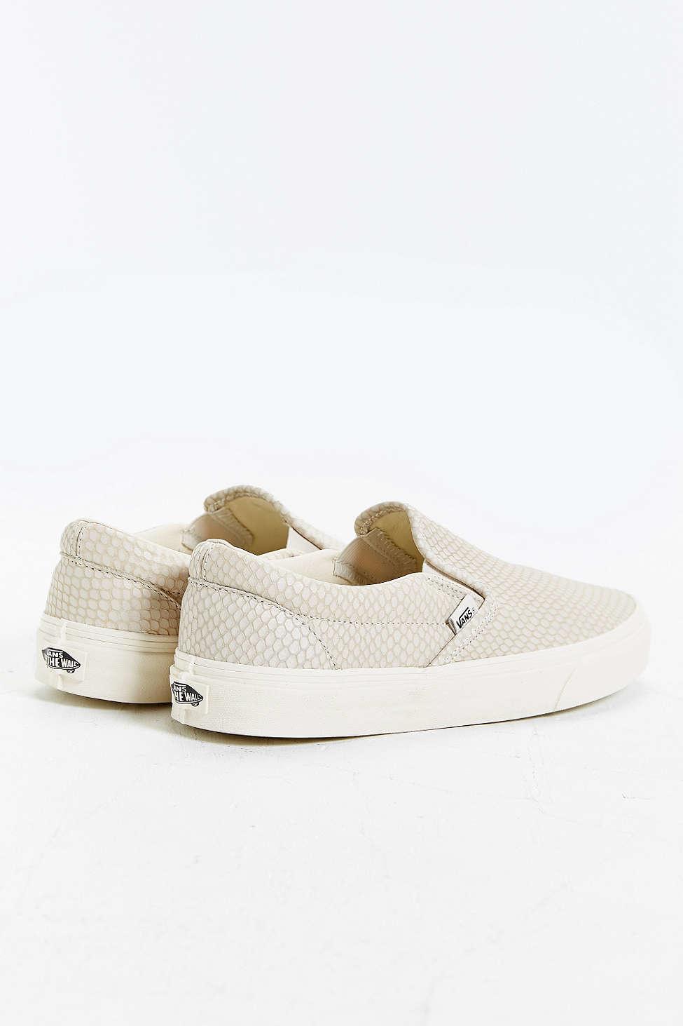 b7c3f0fa28 Lyst - Vans Snake Leather Classic Slip-on Sneaker in Natural for Men