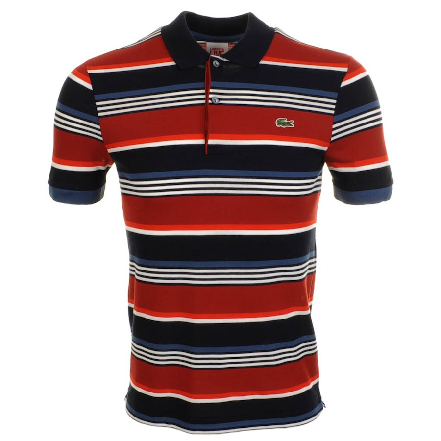 Lacoste l!ive Striped Polo T Shirt in Red for Men | Lyst