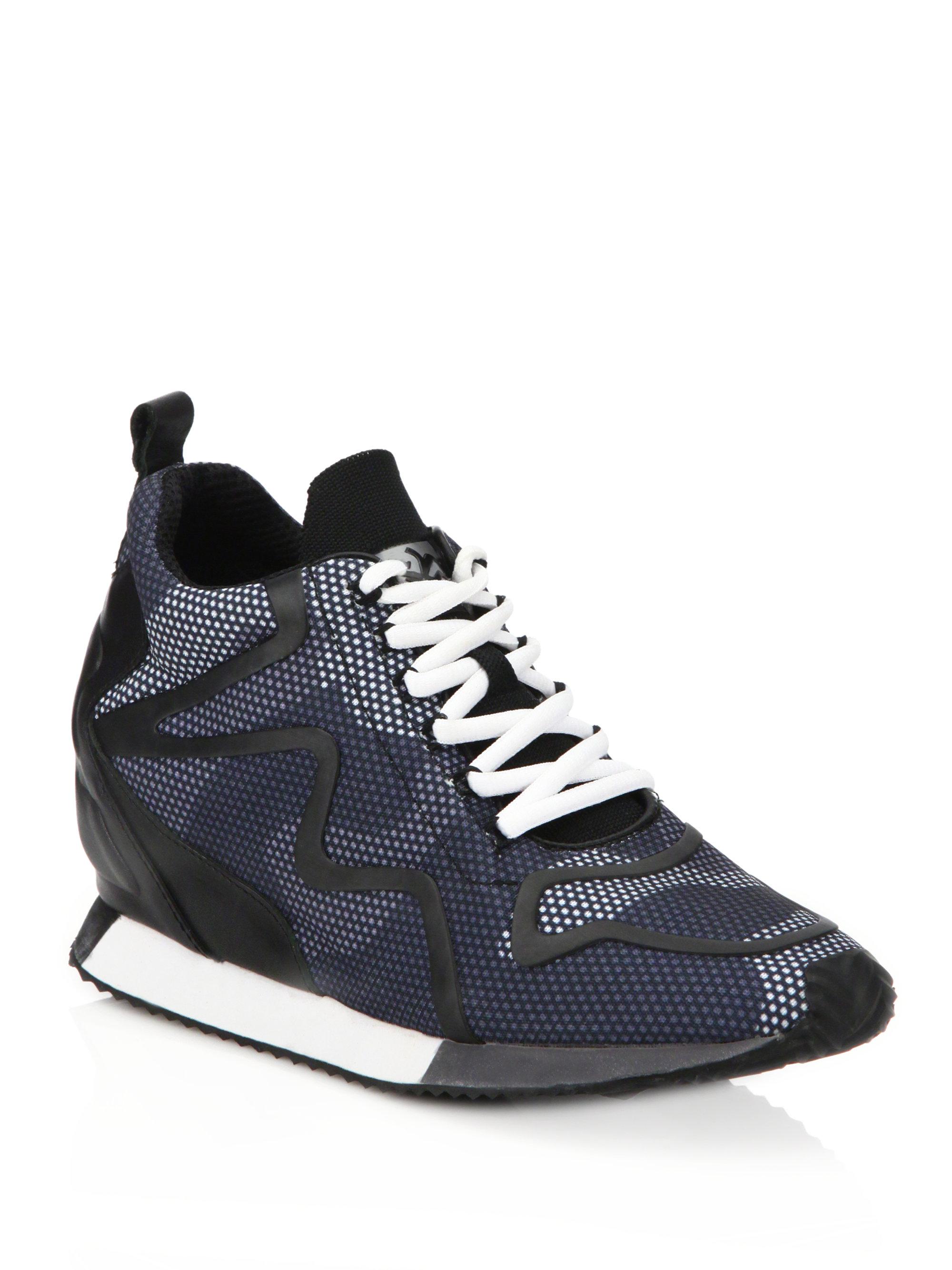 Ash Domino Leather Trim Printed Wedge Sneakers In Black Lyst