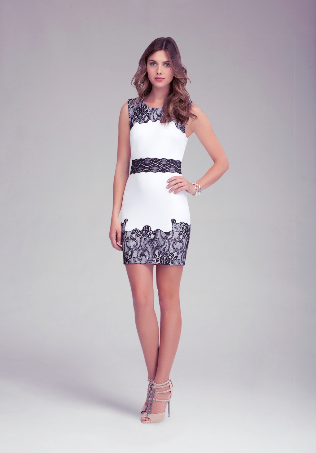 Bebe Lace Trim Ponte Dress In White Lyst