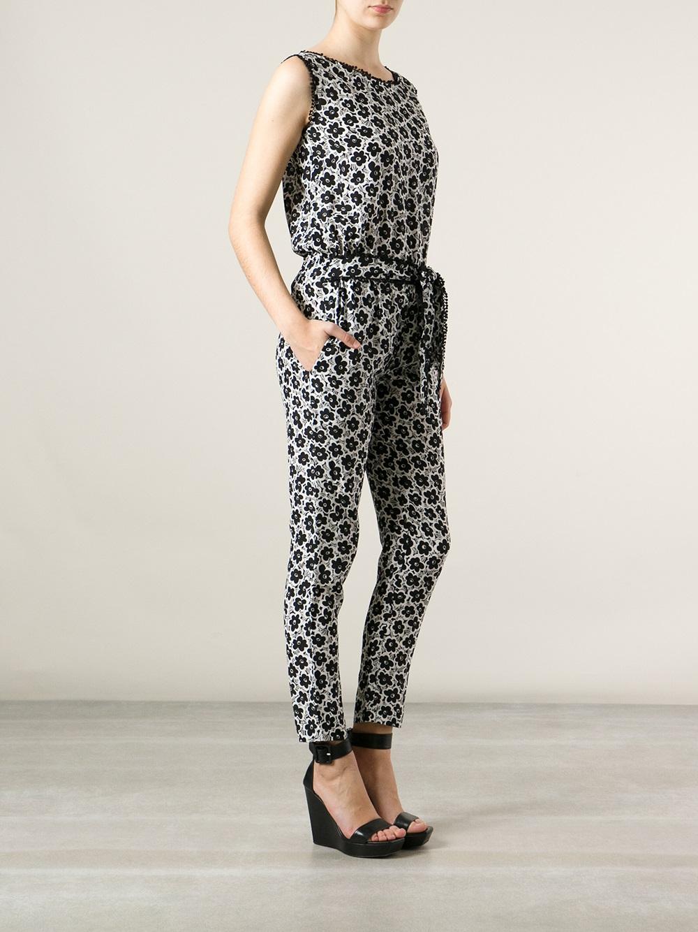 fe5cb9c96edc Lyst - Love Moschino Flower Print Jumpsuit in Gray
