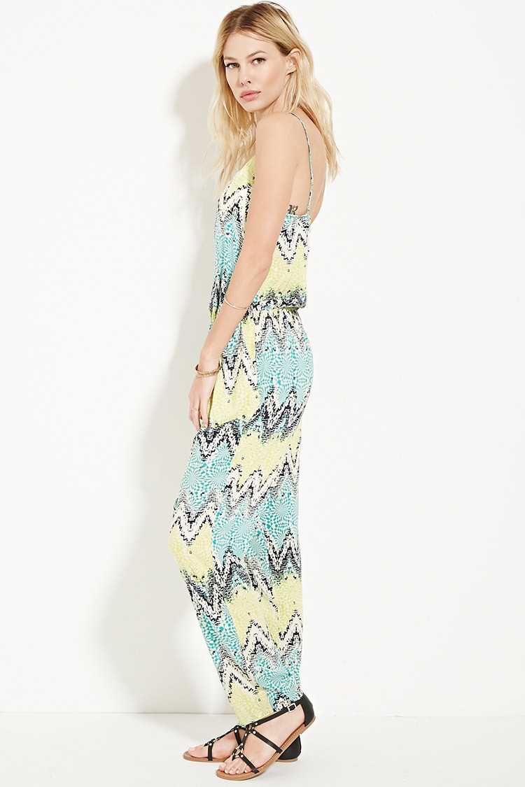 dfaaaf5d15f0 Lyst - Forever 21 Abstract Print Jumpsuit in Natural