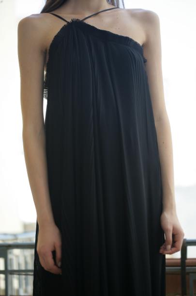 Lara khoury black pleated soft cotton dress in black lyst for Soft cotton dress shirts