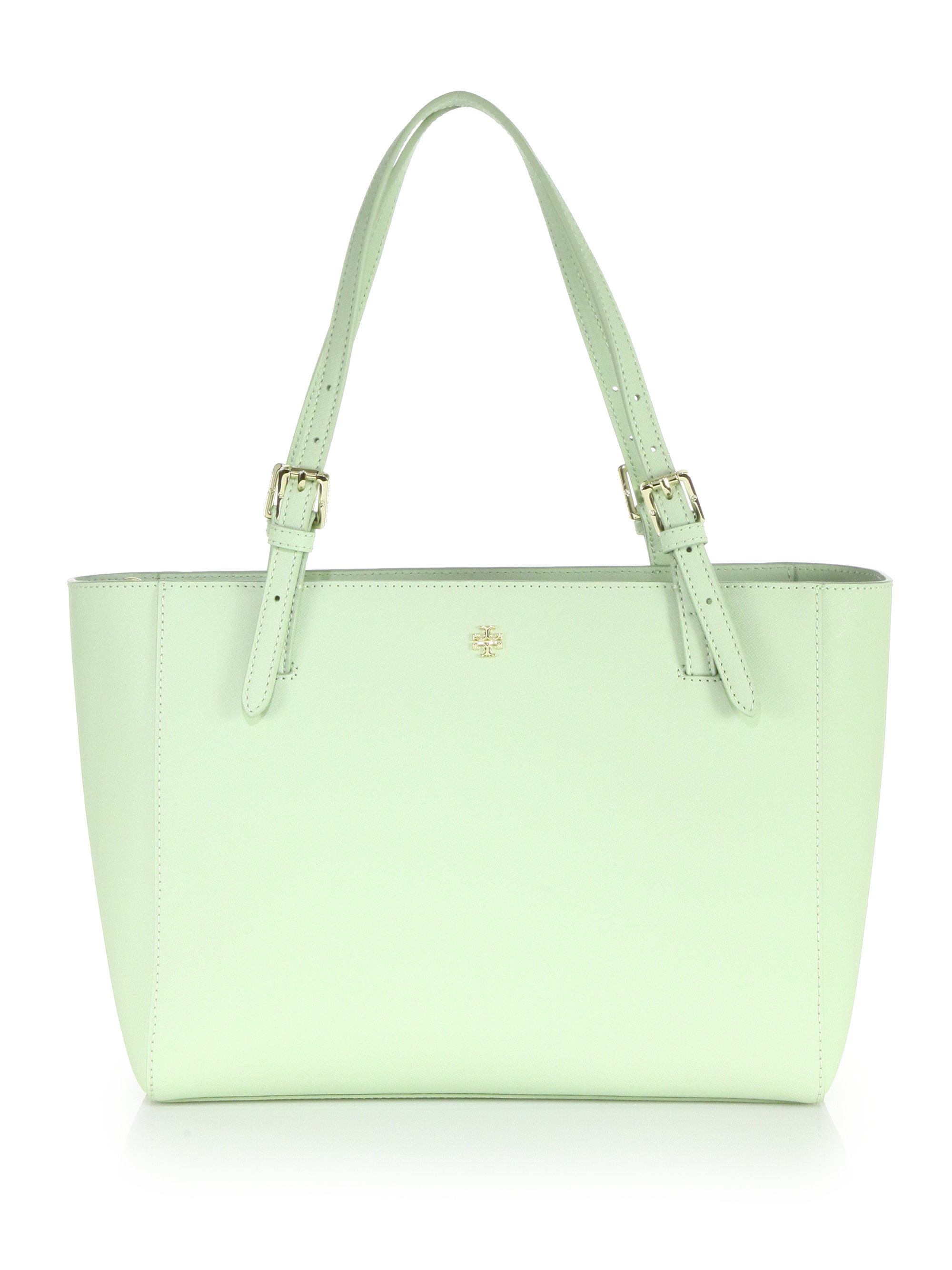 Tory burch York Small Saffiano Leather Tote in Green | Lyst