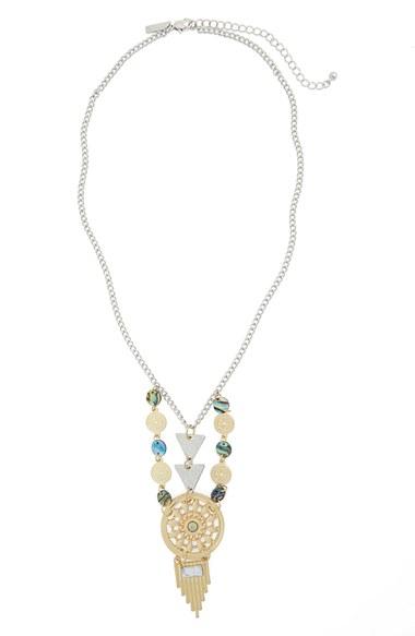 Topshop Mixed Metal Pendant Necklace In Metallic Lyst