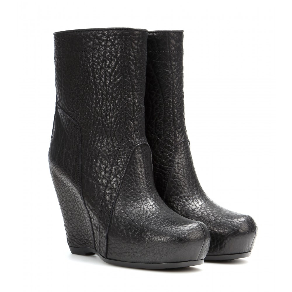 rick owens classic leather wedge ankle boots in black lyst