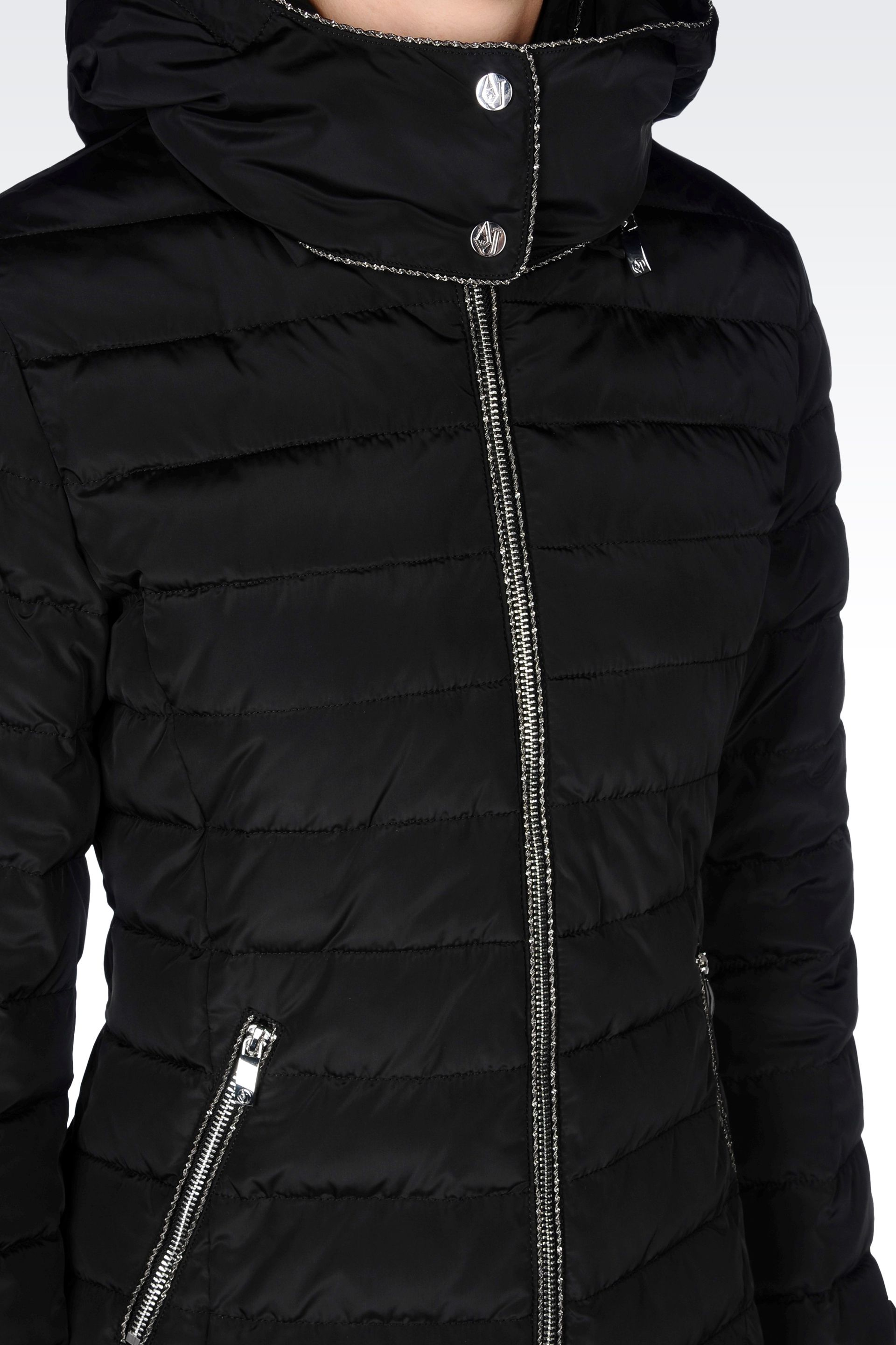 6d135f9fa6 Armani Jeans Black Hooded Down Jacket in Technical Fabric
