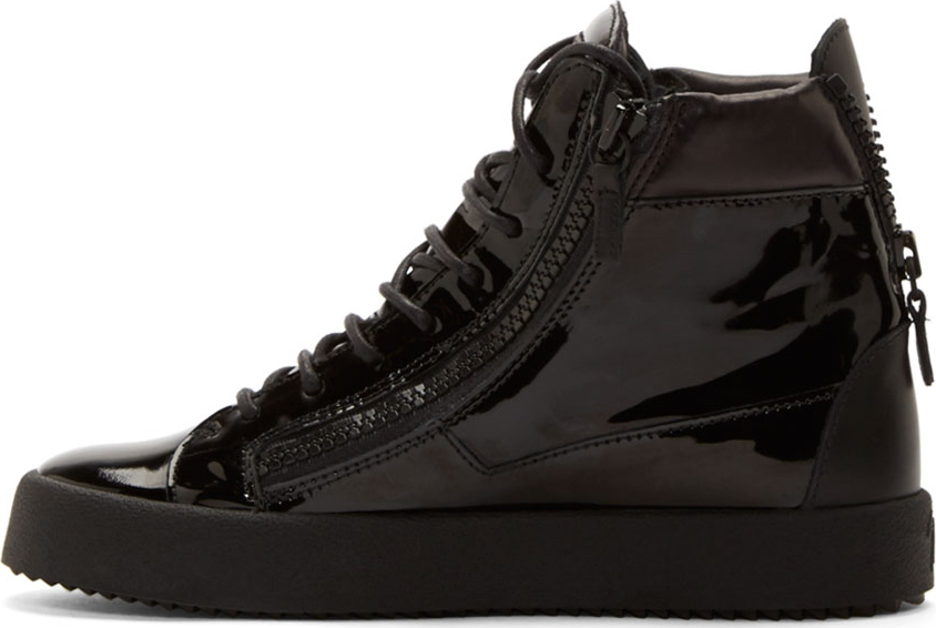 784bd34343e07 Giuseppe Zanotti Black Patent Leather High-top Sneakers in Black for ...