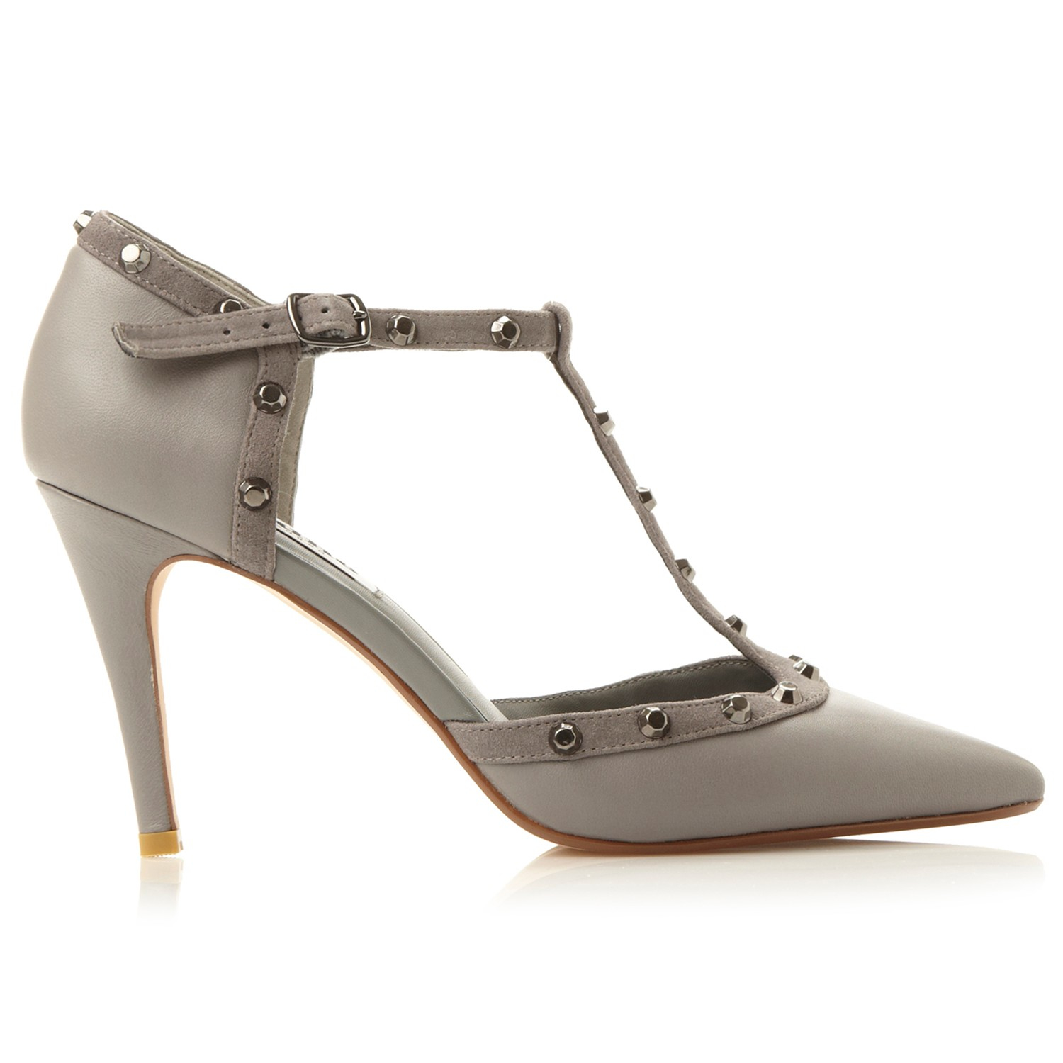 Dune Cliopatra Studded T Bar Court Shoes In Gray Lyst