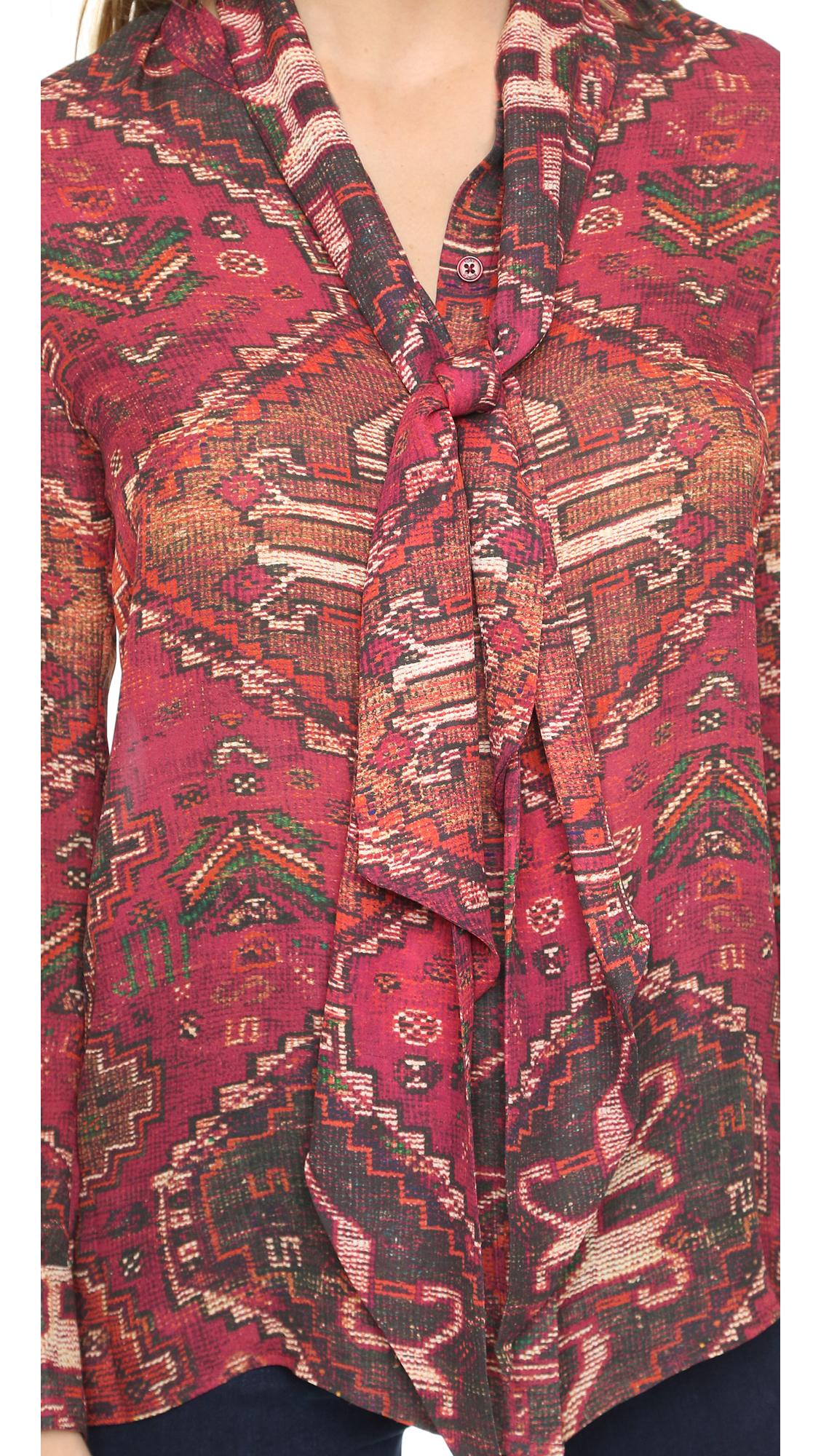 Tory Burch Print Silk Top In Red Lyst