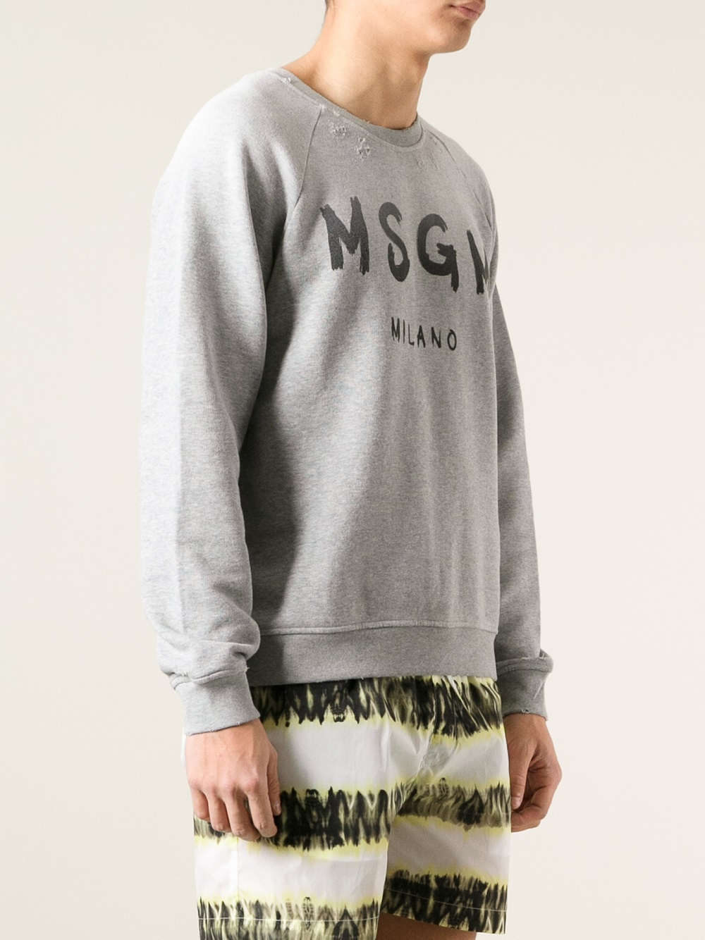 Lyst Msgm Logo Print Sweatshirt In Gray For Men