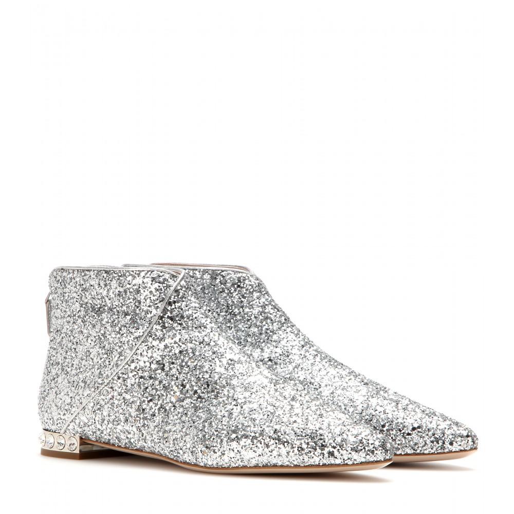 Miu Miu Glitter Ankle Boots in Metallic