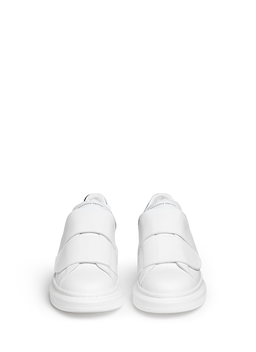Alexander Mcqueen Chunky Outsole Leather Velcro Sneakers In White Lyst