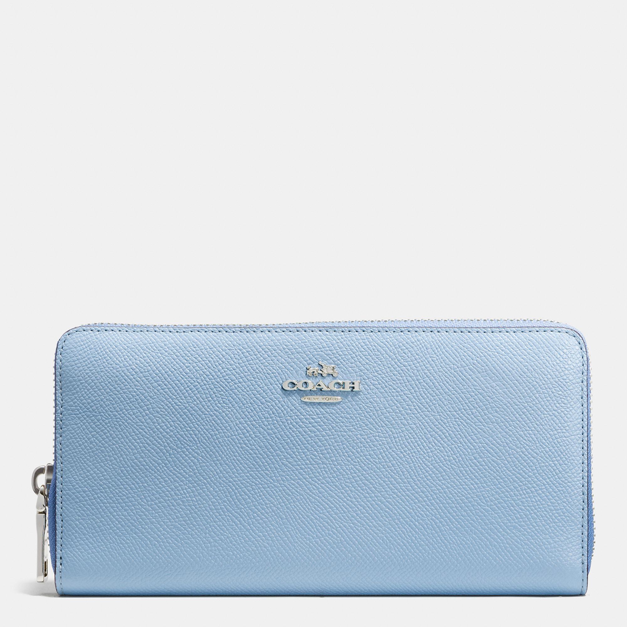 3061cbcb58 COACH Blue Accordion Zip Wallet In Colorblock Crossgrain Leather
