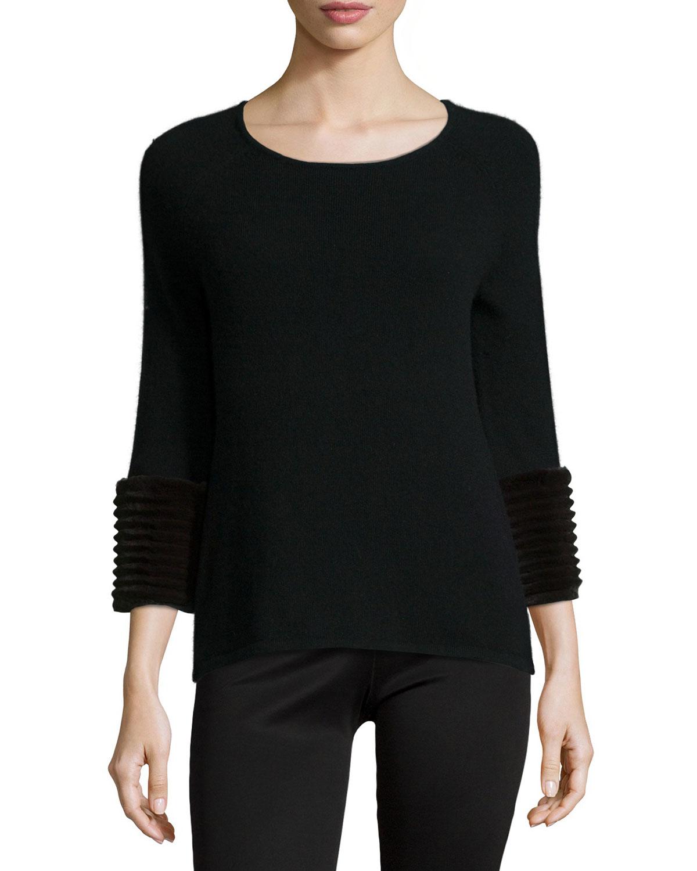 Black Sweater With Animal Fur Cuffs: Neiman Marcus Cashmere 3/4-sleeve Sweater W/ Fur