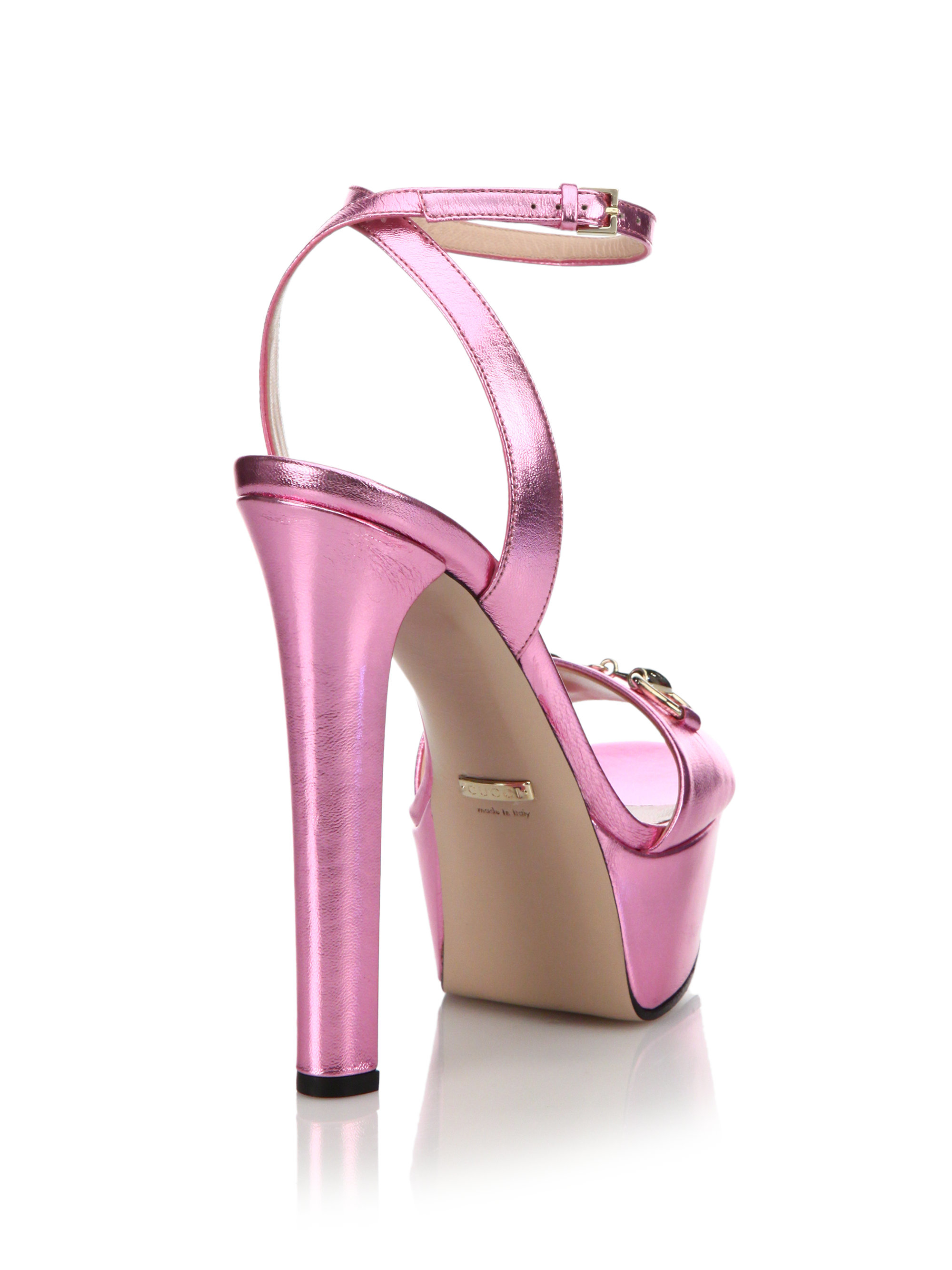 bcb8e706650 Lyst - Gucci Leila Metallic Leather Platform Sandals in Pink