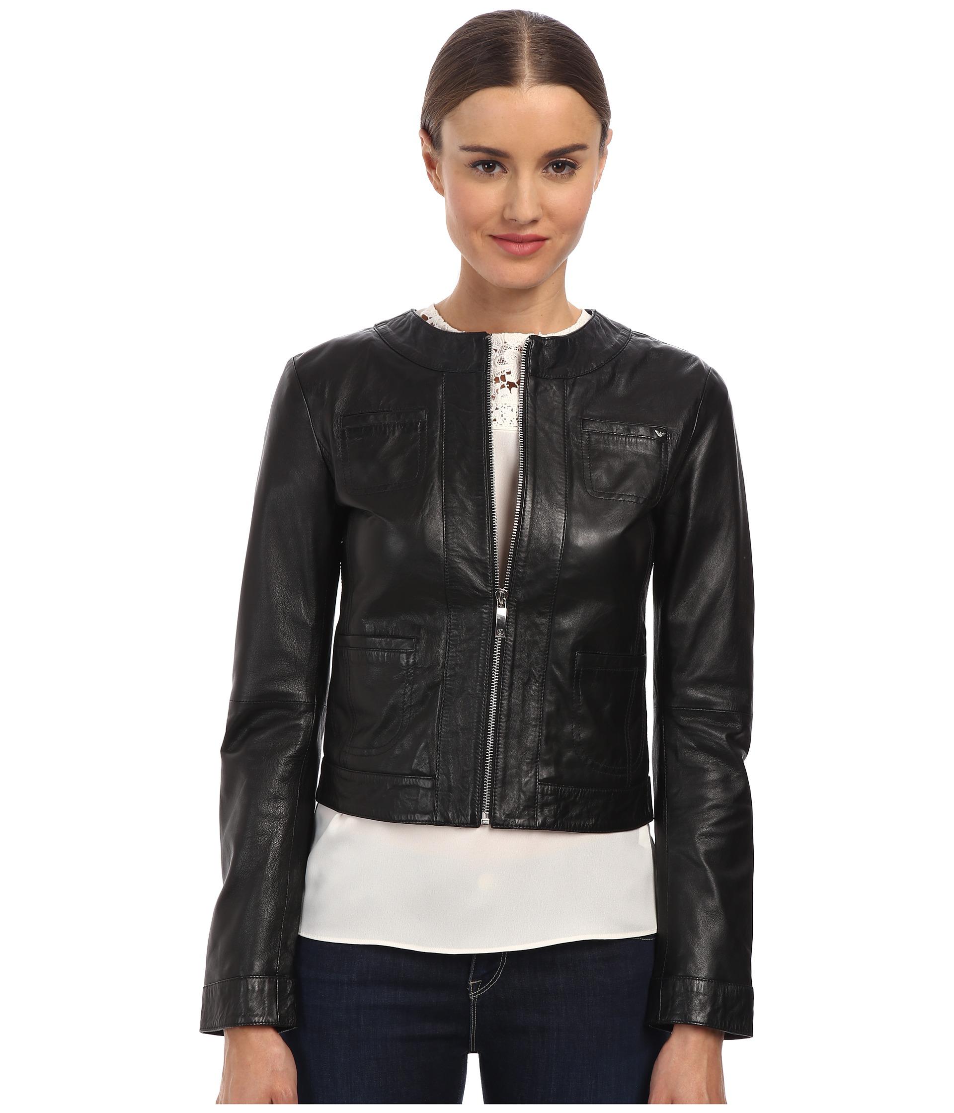 Armani jeans Leather Jacket in Black