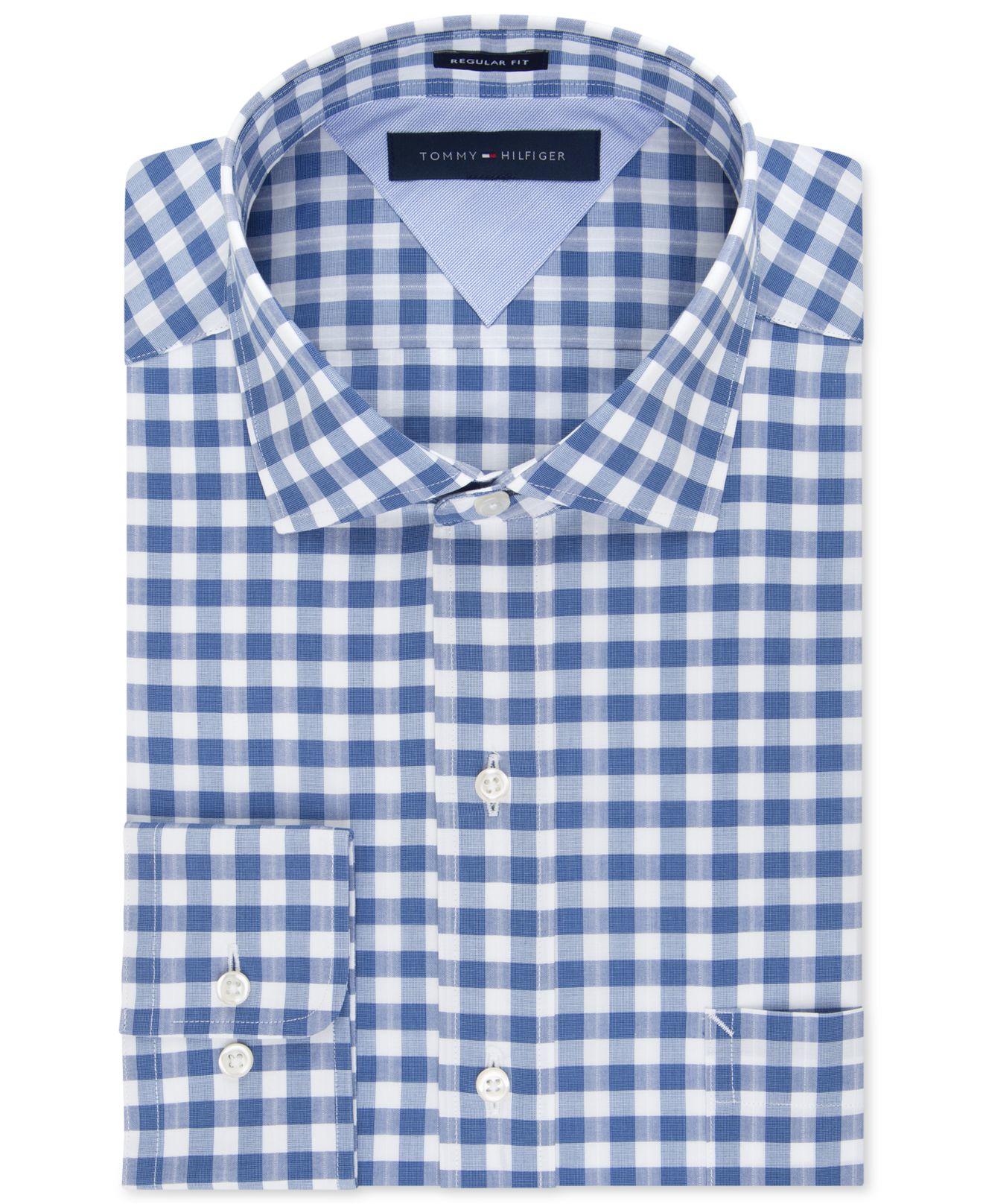 1663f3683 Tommy Hilfiger Easy Care Indigo Gingham Dress Shirt in Blue for Men ...