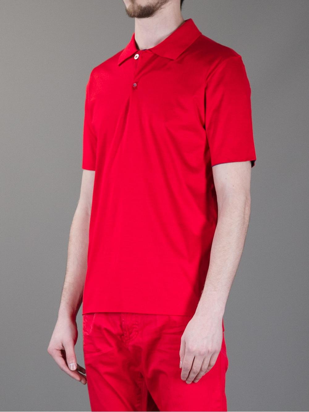 Lyst balenciaga reversible polo shirt in red for men for Balenciaga t shirt red