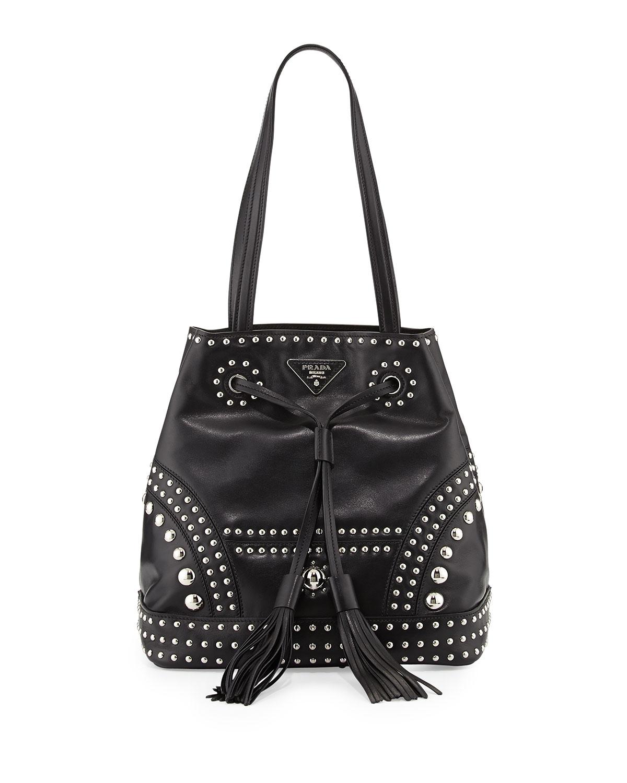 ab77a3a667 Lyst - Prada Soft Calf Large Studded Bucket Bag in Black
