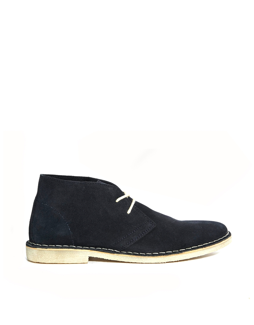 asos desert boots in suede in blue for lyst