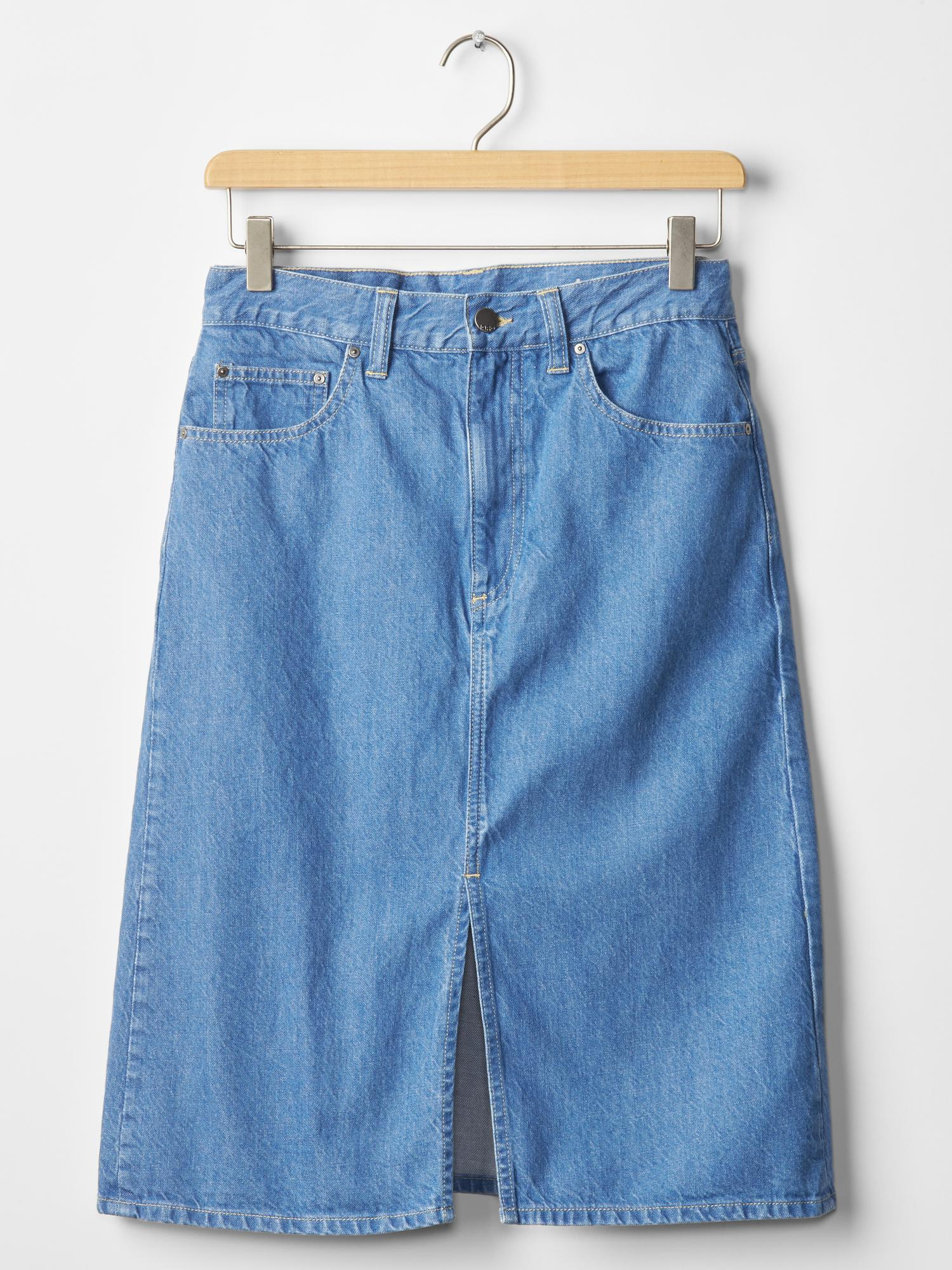gap 1969 a line denim skirt in blue bright indigo lyst