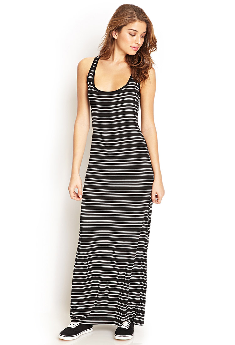 lyst forever 21 striped racerback maxi dress in black
