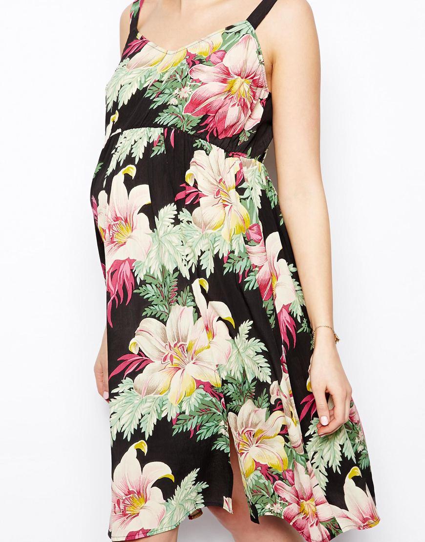 Asos Exclusive Midi Dress In Hawaiian Floral Print In