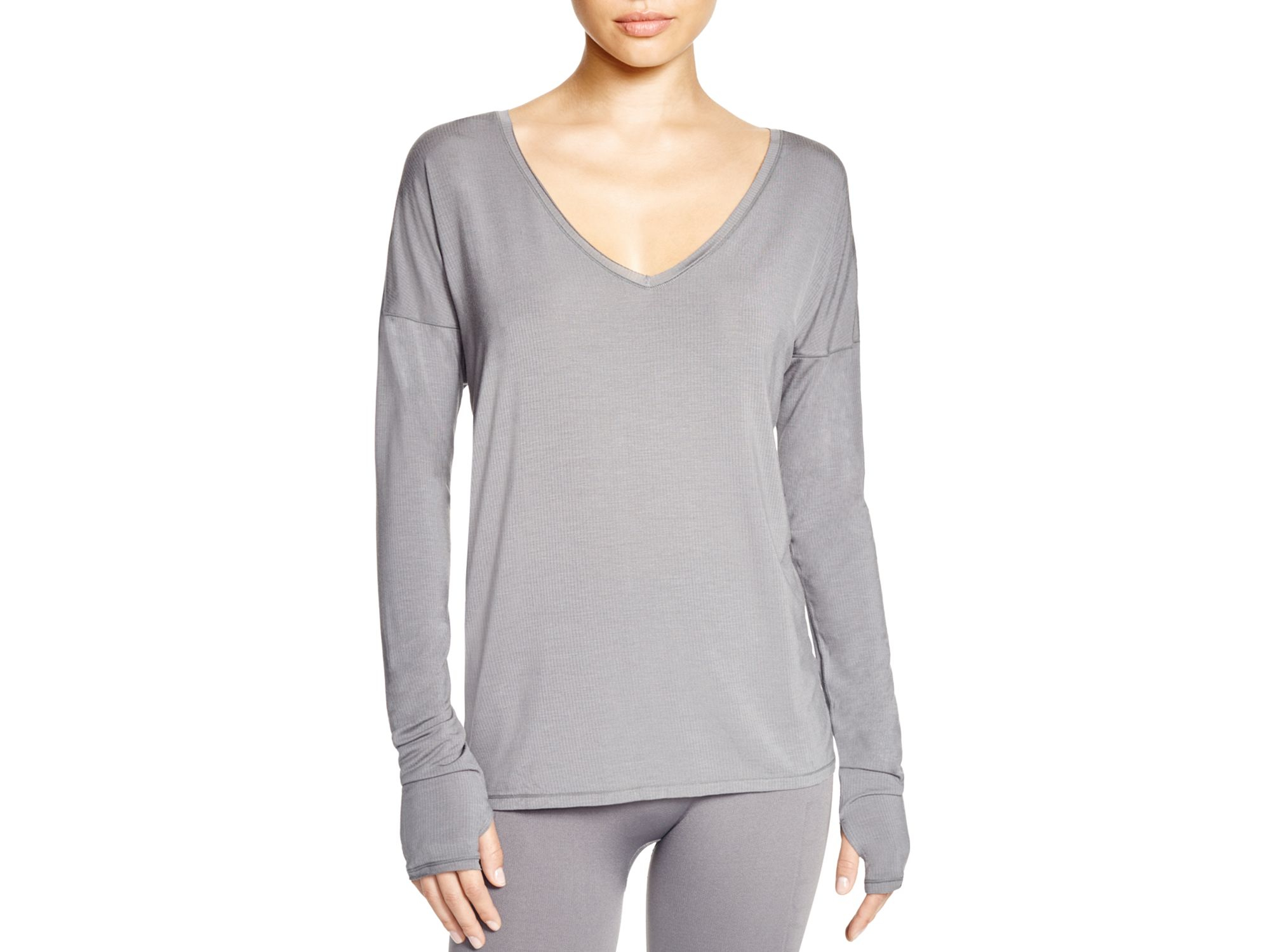 574619bf35fd6 Lyst - Yummie By Heather Thomson Betsey Long Sleeve Top in Gray