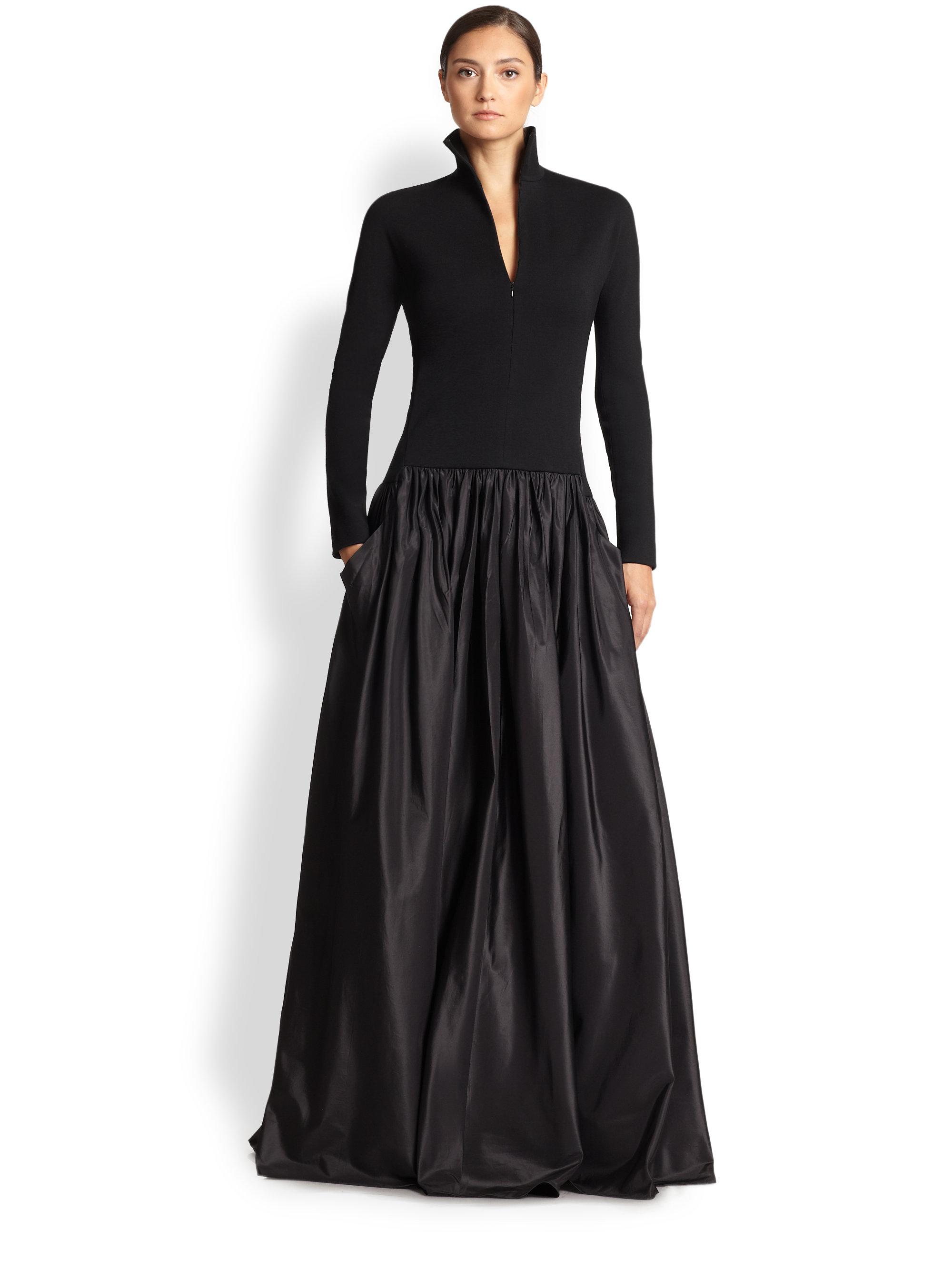 Akris Wool & Silk Taffeta Gown in Black