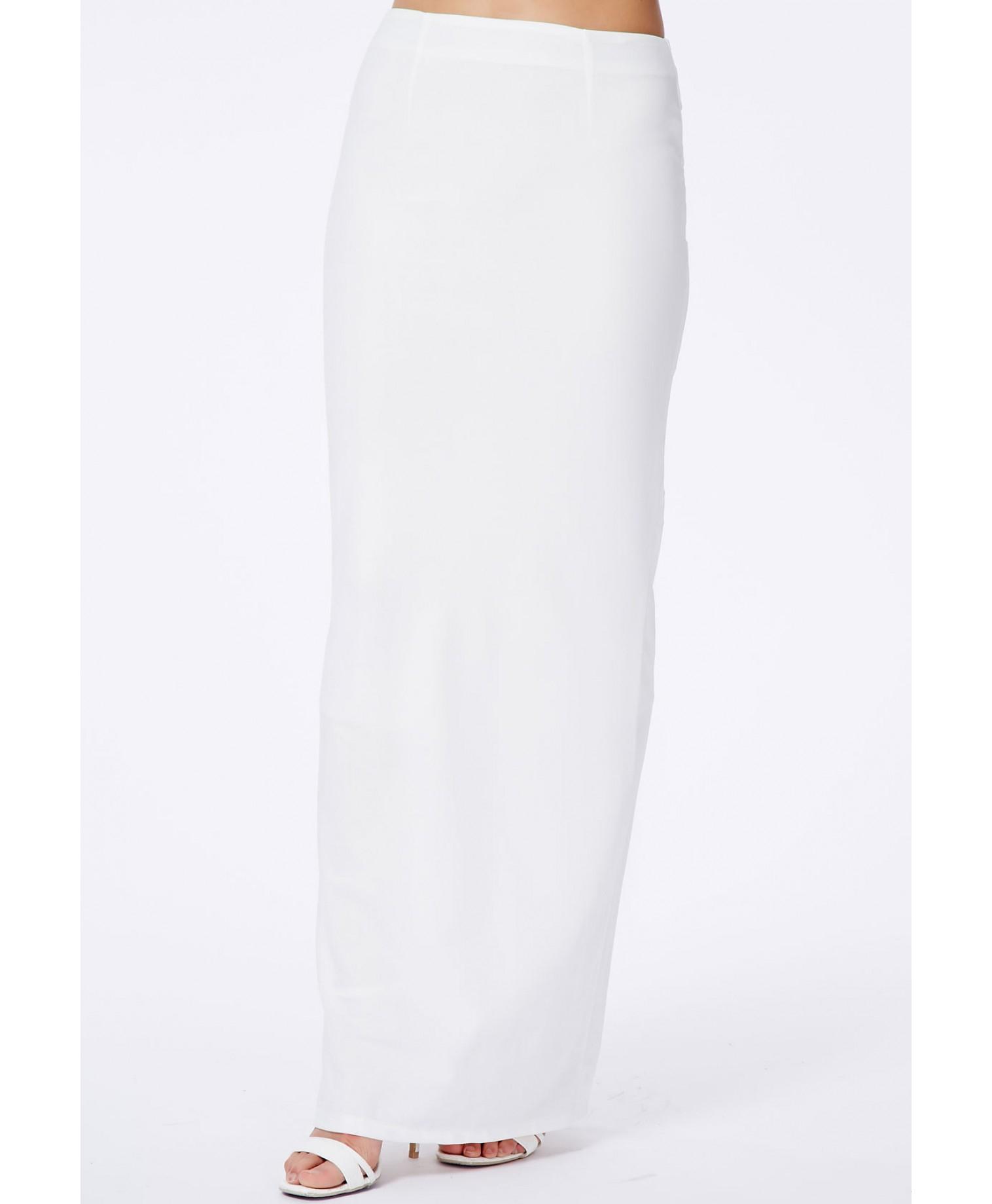 Missguided Amla White Split Crepe Maxi Skirt in White | Lyst