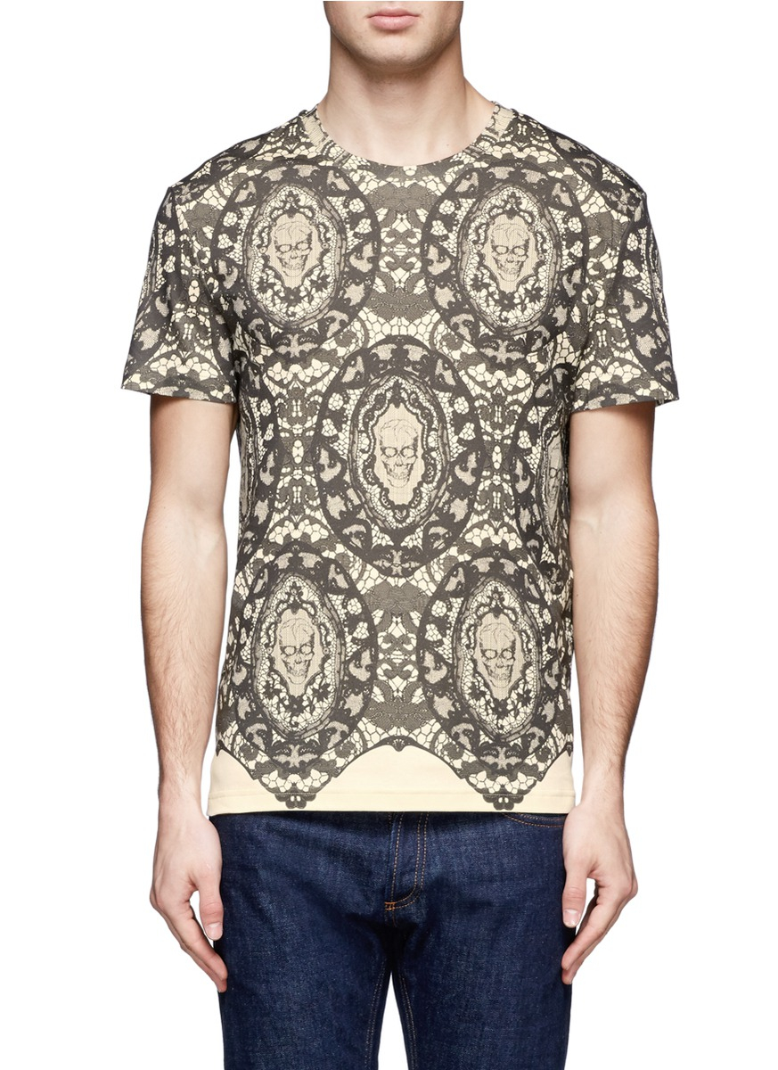 Alexander Mcqueen Skull and Lace Print Cotton Tshirt in ...