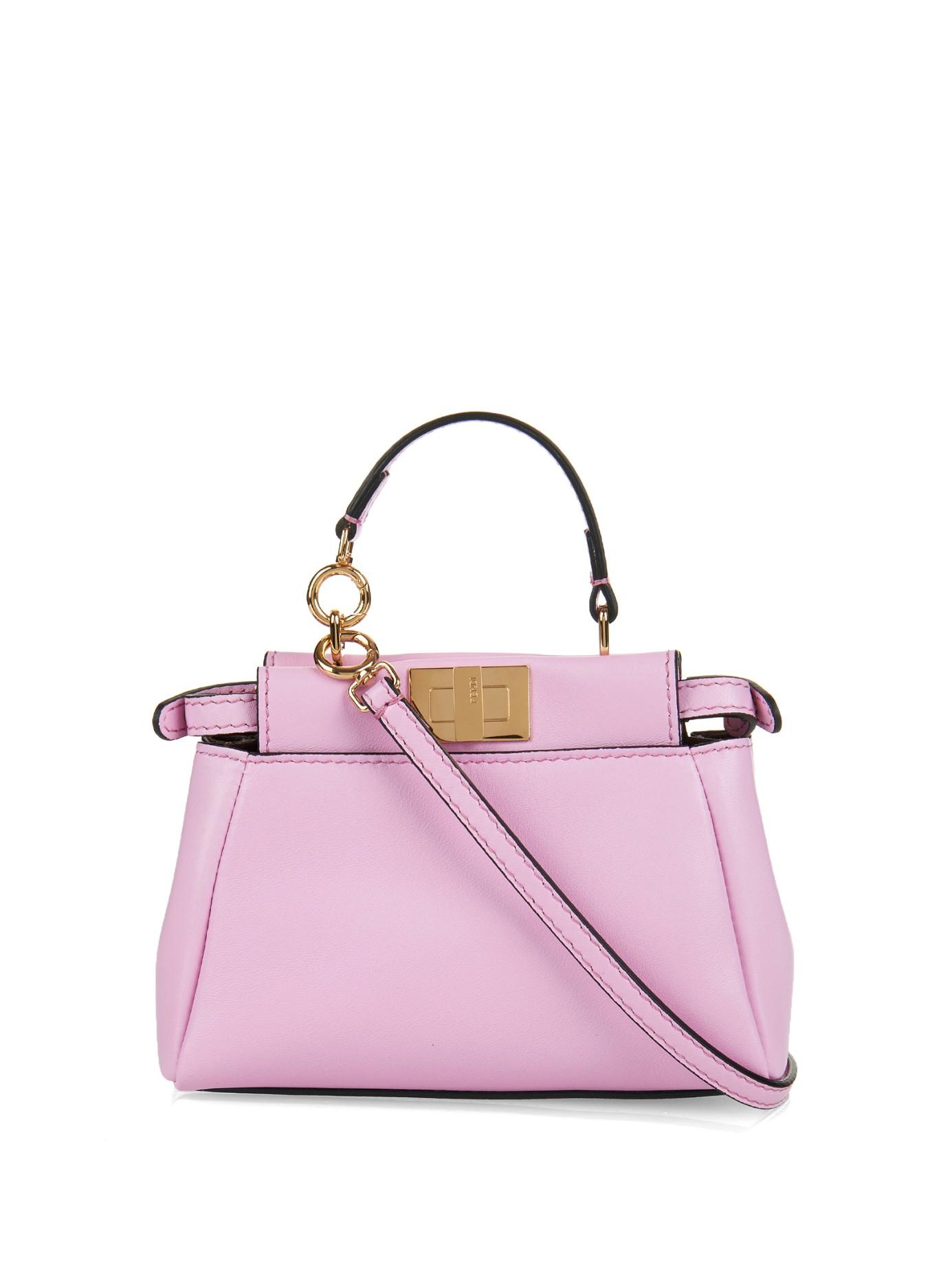 0f303e5d13 Fendi Micro Peekaboo Leather Cross-Body Bag in Pink - Lyst